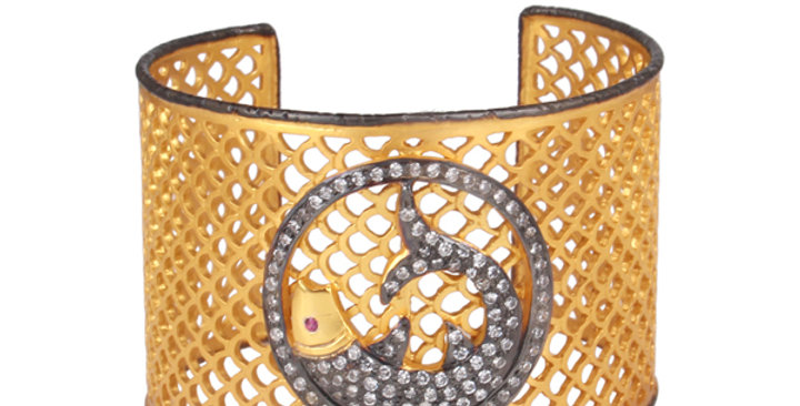 Sterling Silver Fish Mesh Cuff with Cubic Zirconia, & Gold Plating