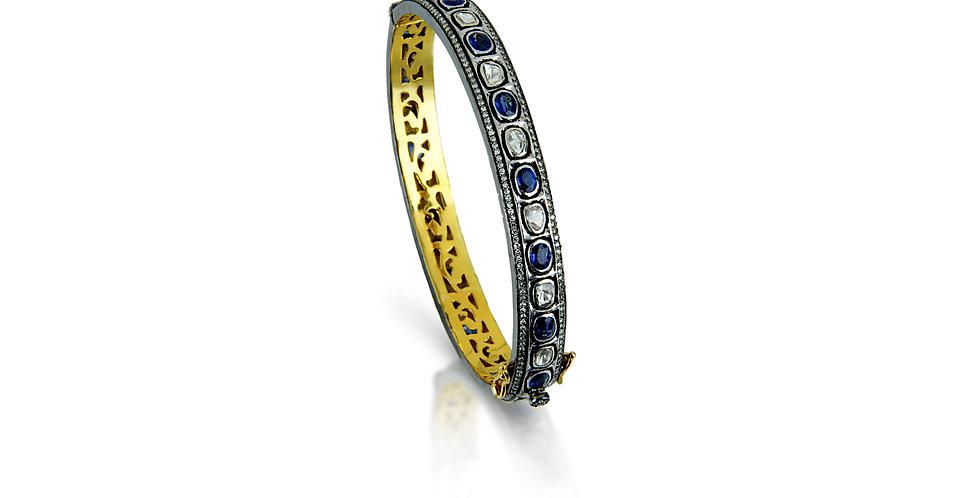 Art Deco Sapphires & Single Cut Diamond Bracelet in 18K Gold & Sterling Silver