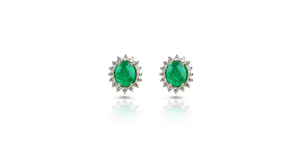 Emerald & Fancy Cut Diamond Stud Earrings in 18K Gold