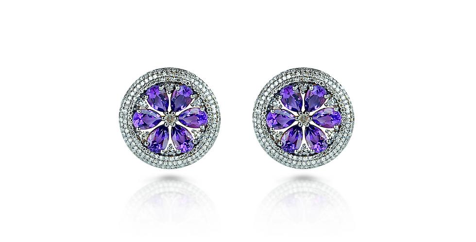 Purple Amethyst & Diamond Stud Earrings in 18K Gold & Sterling Silver