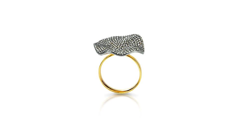 Art Deco Single Cut Diamond Ring in 18K Gold & Sterling Silver
