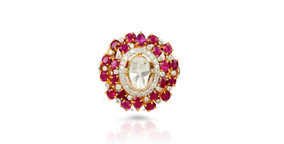Ruby Chrysanthemum Ring