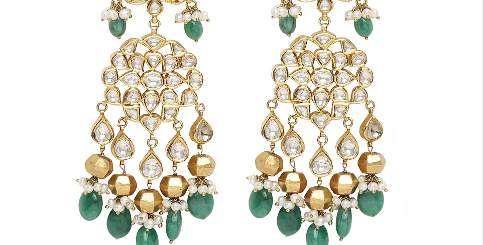 Diamond (Polki) and Beryl Chandeliers in 18K Gold