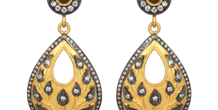 Sterling Silver Black Onyx Earrings with Cubic Zirconia & Gold Plating