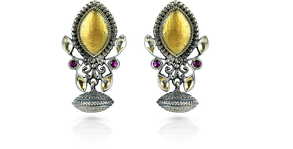 Sterling Silver Chalice Earrings with Enameling, Gemstones, & Gold Plating