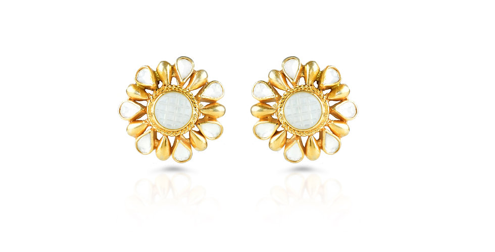 Sterling Silver Studs with Mother-of-Pearl and Gold Plating