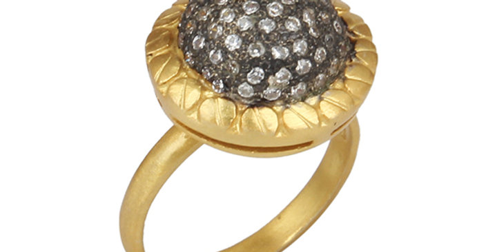 Sterling Silver Gold Plated Ring with Cubic Zirconia