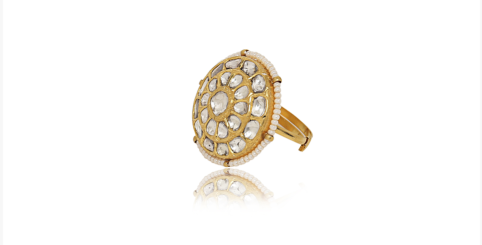Diamond (Polki) and Pearl Ring in 18K Gold