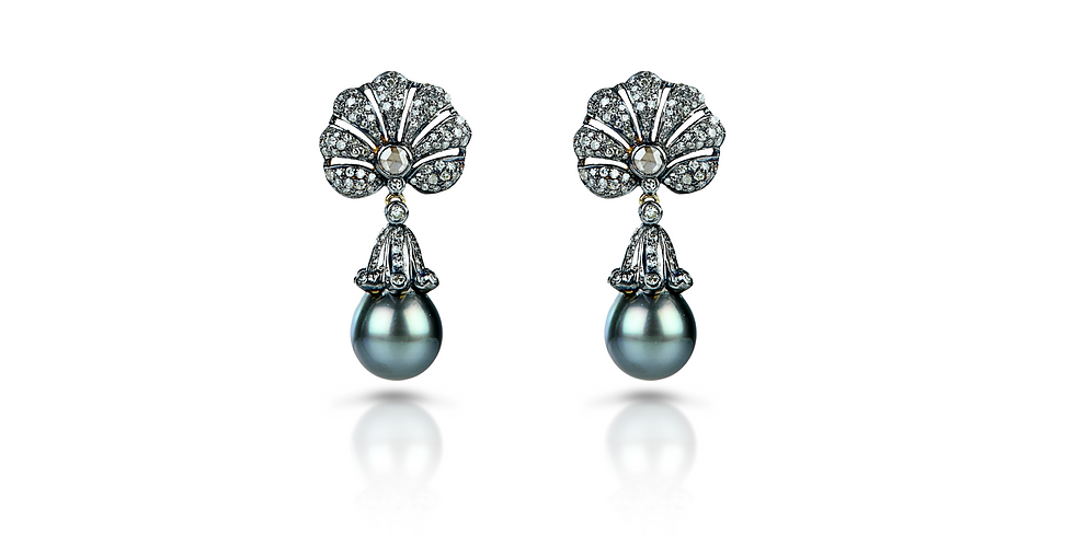 Art Deco Tahitian Pearl & Diamond Earrings in 18K Gold & Sterling Silver