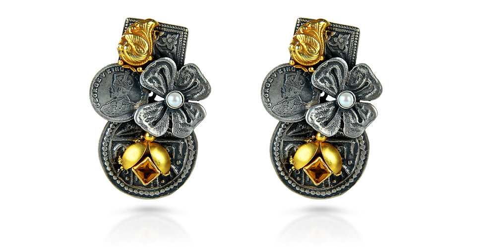 Sterling Silver Clover Leaf Earrings with Gold Plating