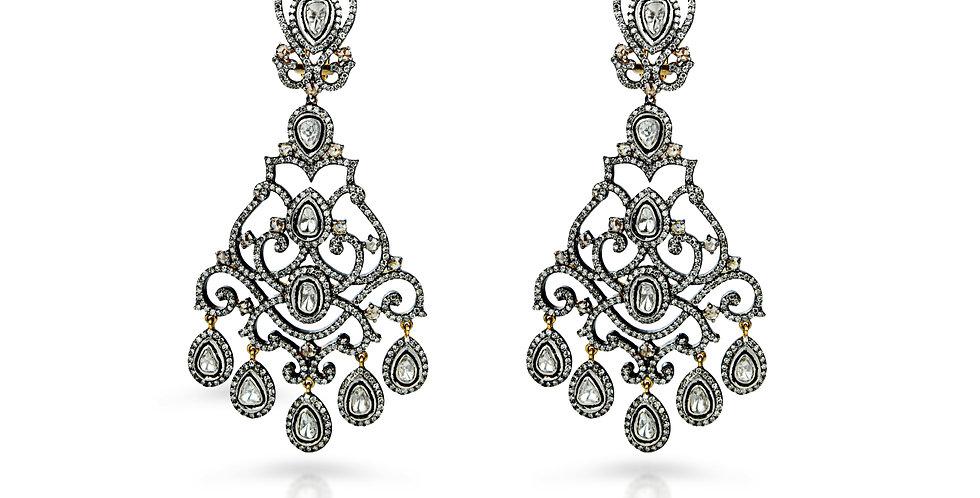 Art Deco Diamond Chandelier Earrings in 18K Gold & Sterling Silver