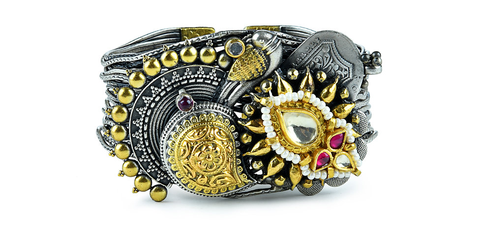Sterling Silver Cuff with Enameling, Cubic Zirconia, & Gold Plating