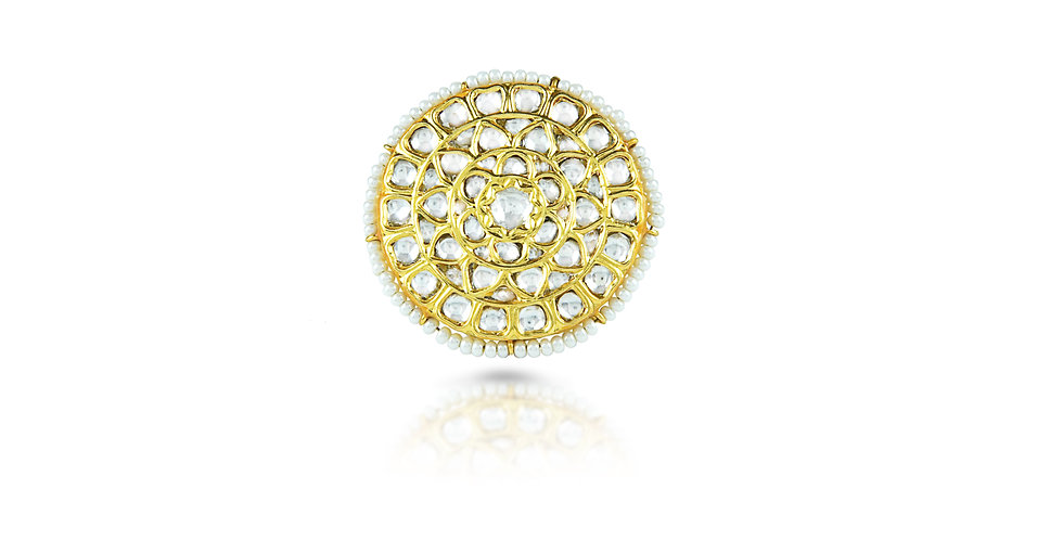 Sterling Silver Adjustable Glass Kundan Ring with Gold Plating