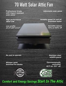 70 watt solar attic fan, 70 watt solar fan brochure, 70 watt solar royal, 70 watt attic breeze