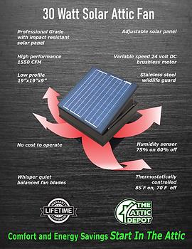 30 watt solar fan, wholesale 30 watt solar attic fan, 30 watt solar fan brochure