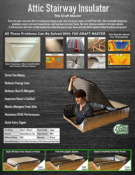 attic stairway insulator brochure, draft master brochure, attic tent brochure