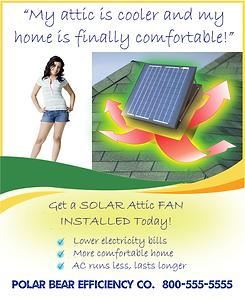 solar attic ventilation marketing, solar royal marketing, solar fan ad template