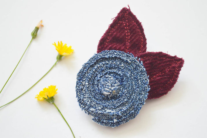 Recycled fabric brooch