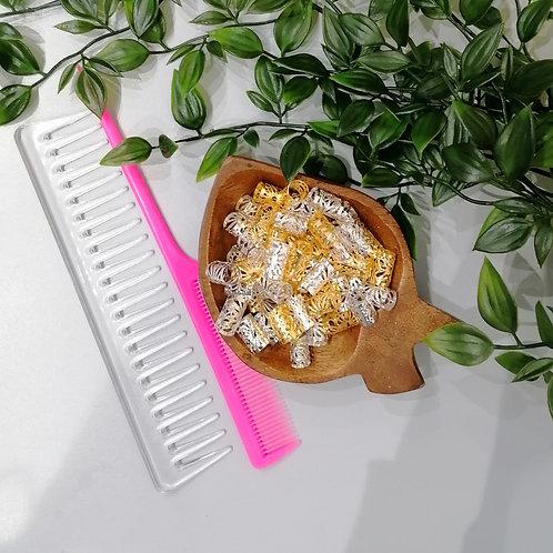 BAGUES de cheveux couleur or , argent ou multicolore