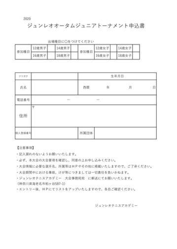 ジュンレオオータムジュニアトーナメント 申込用紙