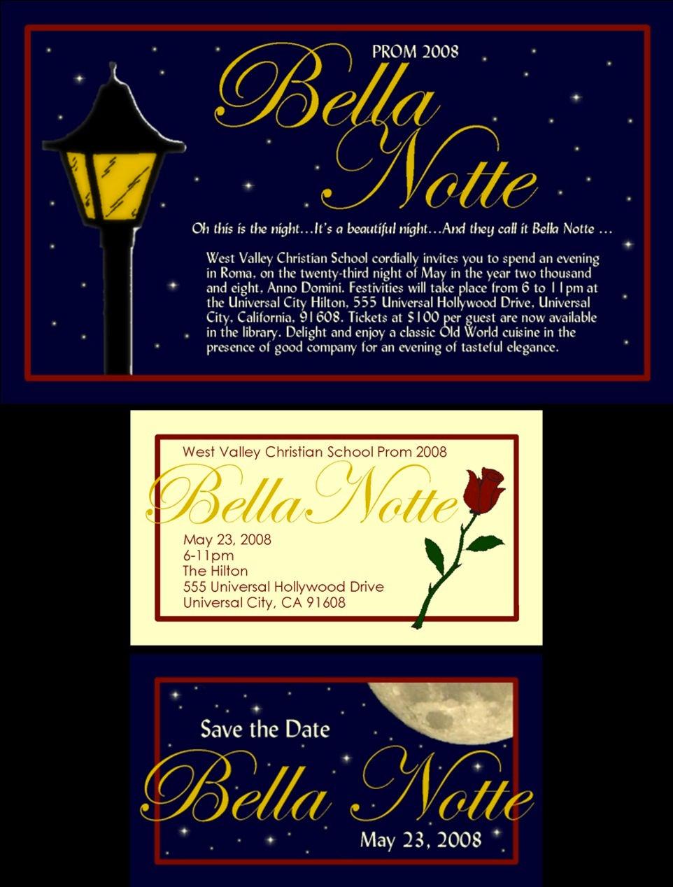 Prom Tickets   Bella Notte  Prom Tickets Design