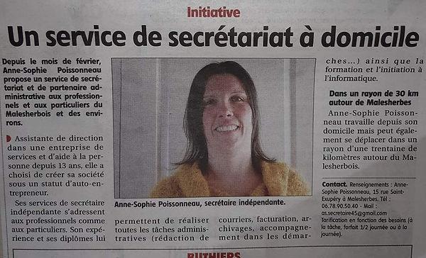 Le courrier du Loiret - secrétaire indépendante Malesherbes Fontainebleau Milly la forêt Pithiviers