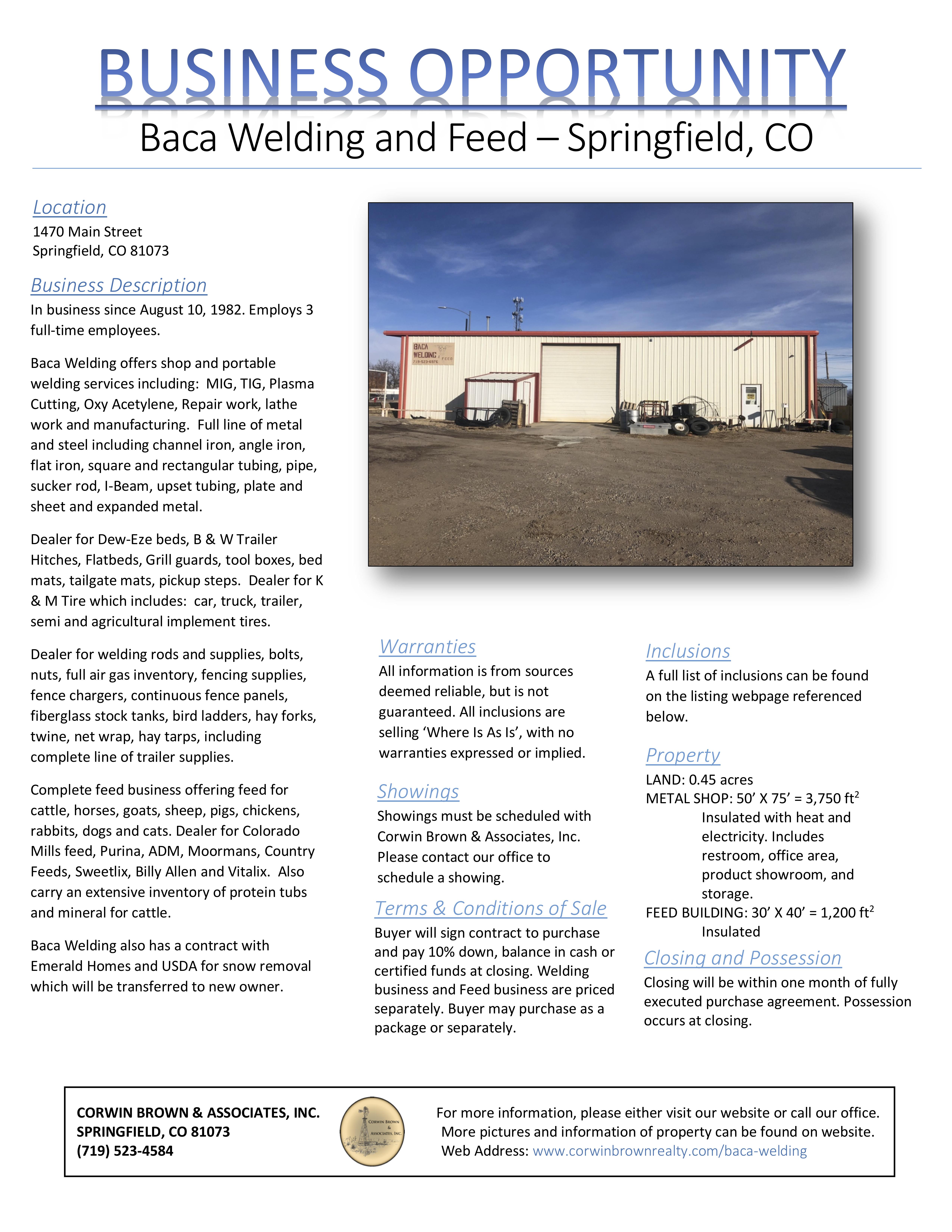 Corwin Brown Realty | Farm & Ranch Real Estate | Baca Welding