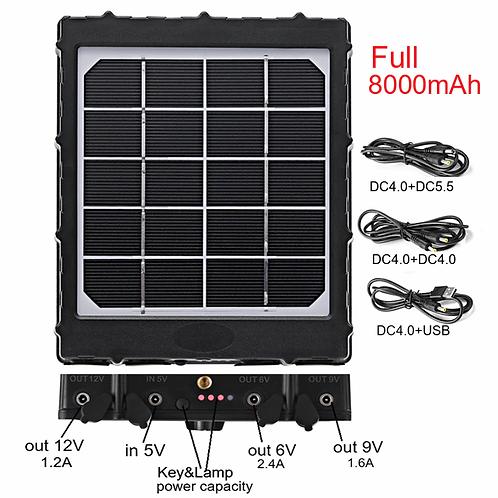 Solcell med inbyggt batteri på 8000 mAh för t.ex Åtelkameror