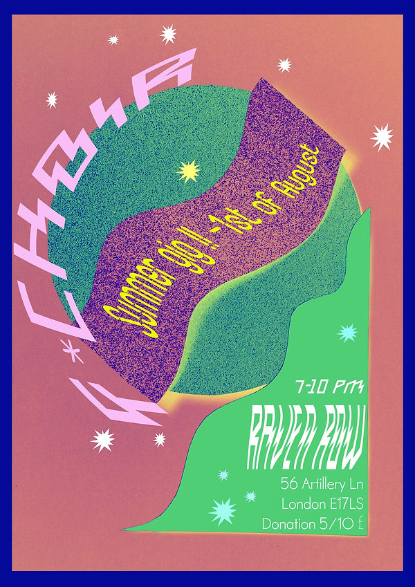 Jazzy pink poster for the Raven Row gig