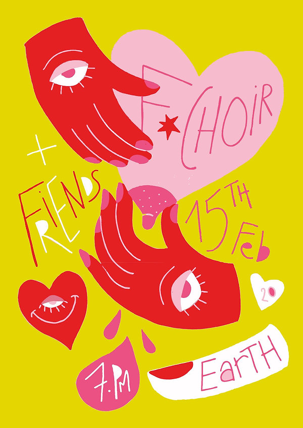Colourful poster for Earth gig made by B