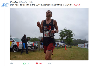Ben Koss 7th at Lake Sonoma 50 Miler