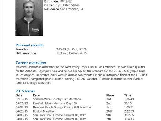 Malcolm Richards Elite Field Profile - 2015 Chicago Marathon