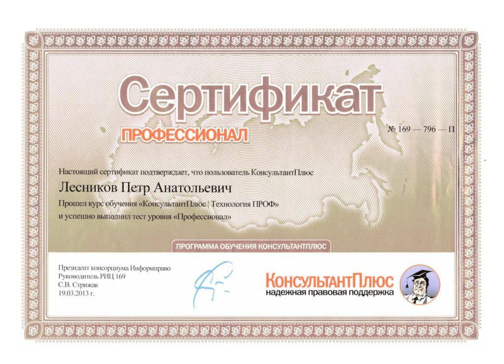 Сертификат консультант проф 2013