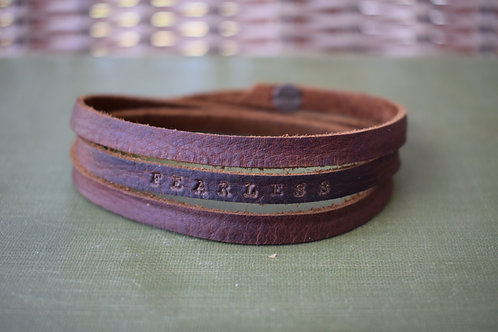 """""""Fearless"""" Leather Wrap Bracelet"""