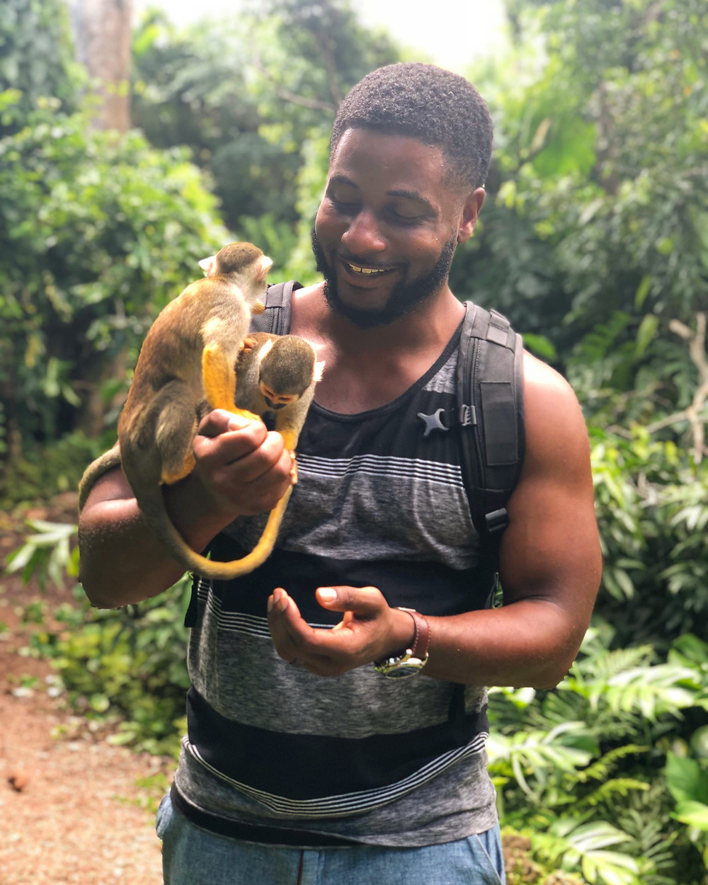 LB the Adventurer with two squirrel monkeys