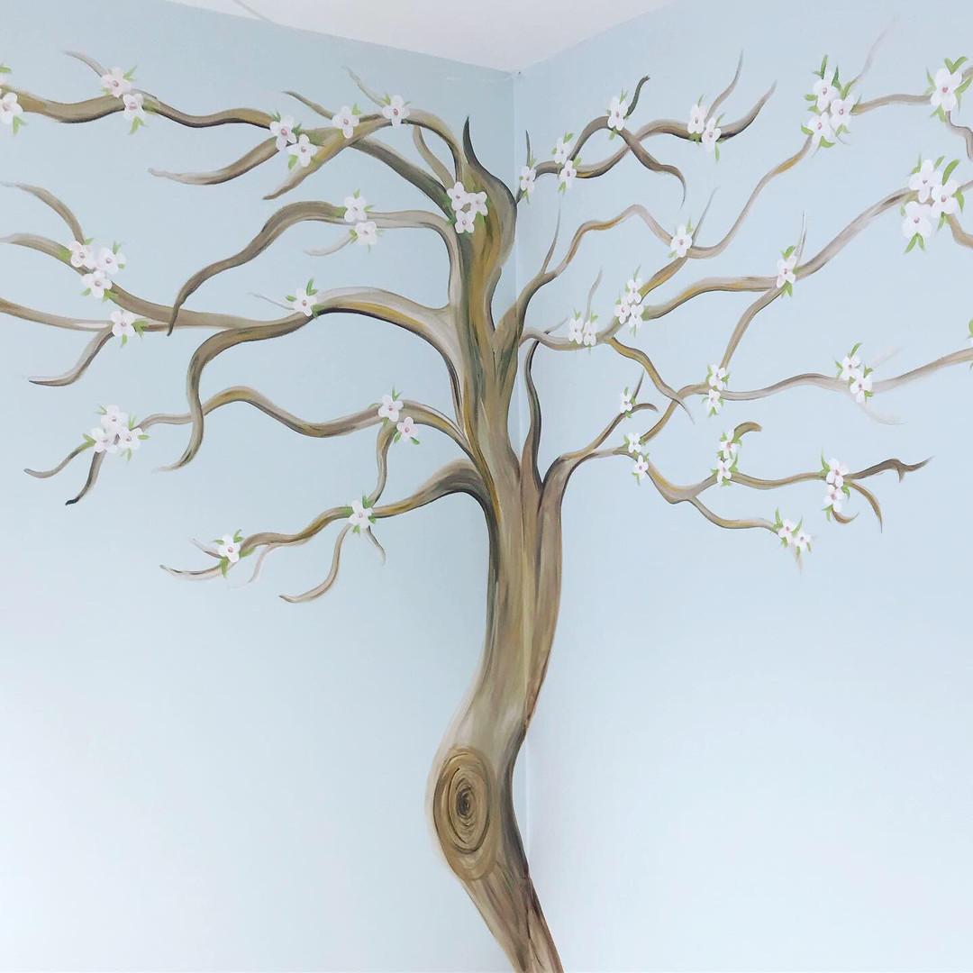 Hand painted tree mural