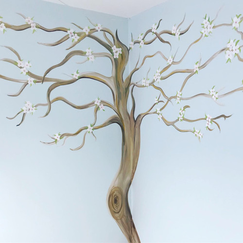 Hand painted tree mural