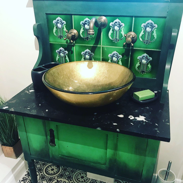 Victorian washstand painted with chalk paint