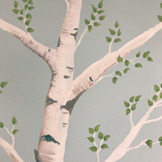 Hand painted Birch tree mural