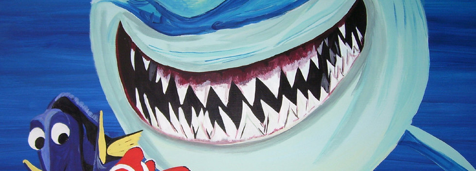 Bruce the shark wall mural