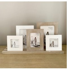 5 rustic frames on a tray