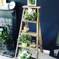 Vintage ladder flower displays