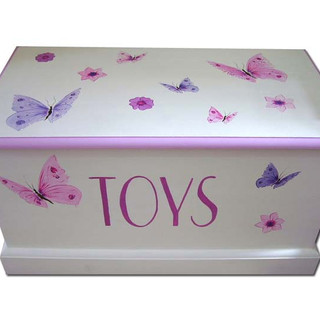 Personalised toy box with butterflies