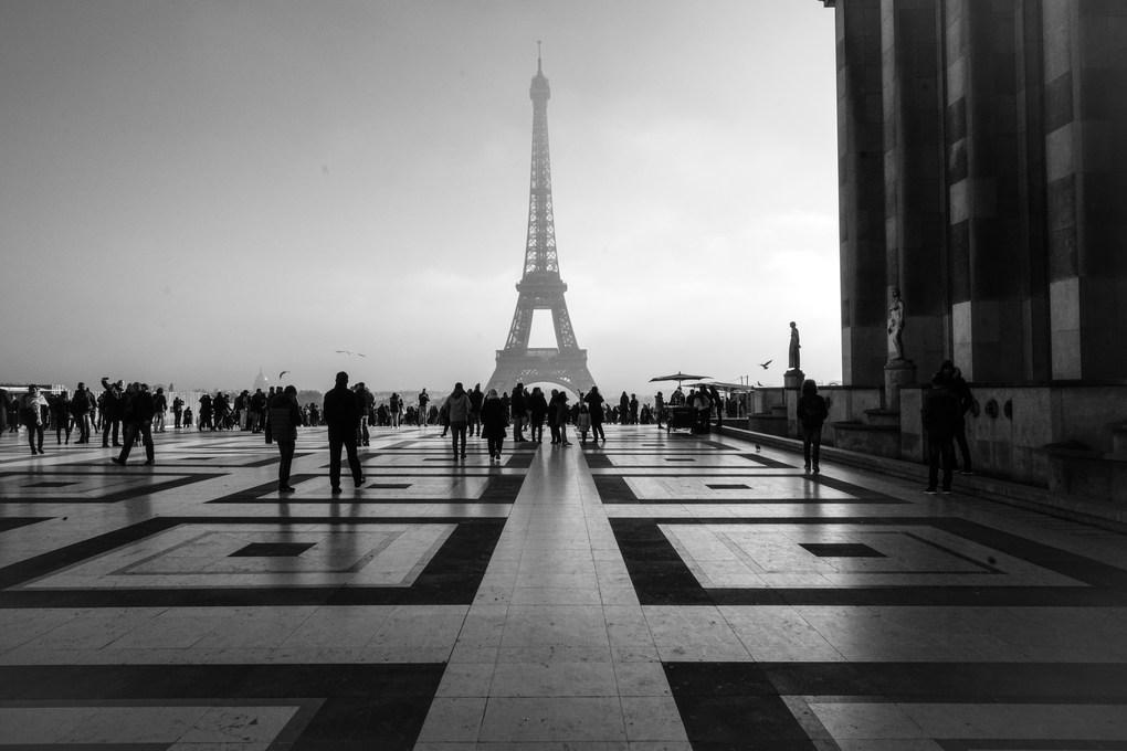 Paris BW Eiffel Tower from Plaza.jpg