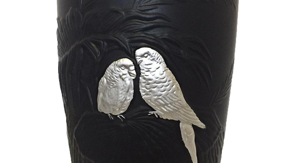 Grand vase Tokyo perruches argent