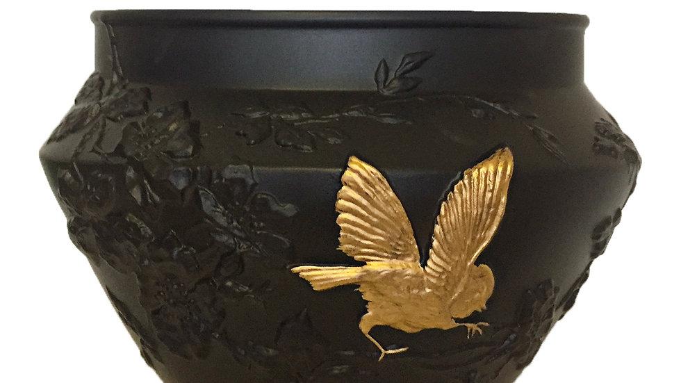 Vase Eglantine oiseau or