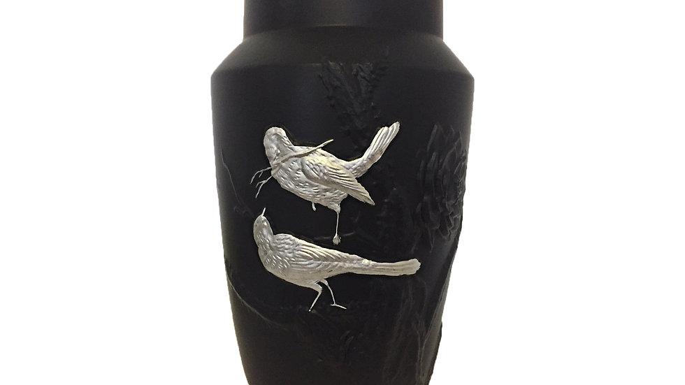 Grand vase Tokyo oiseaux argent
