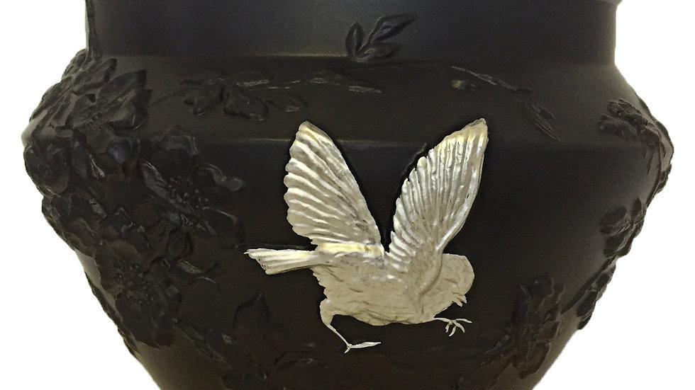 Vase Eglantine oiseau argent
