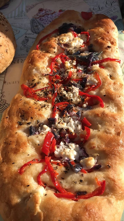 pepper,onions and feta foccacia