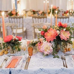 Peachy wedding arrangements